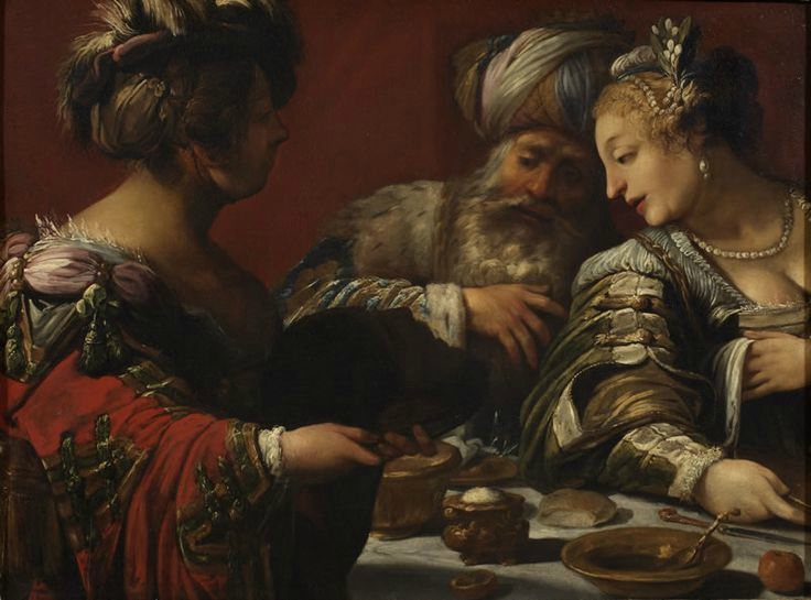 Claude Vignon, Salome hands Herod and Herodias at the head of the Baptist, ante 1623, Rome - Rome Foundation Collection