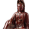A very rare inlaid lacquered wood figure of guanyin, by lu kuisheng, qing dynasty,jiaqing – daoguang period (1796-1850)