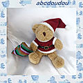 Doudou peluche ours marron assis père noel sac rayures the teddy bear collection