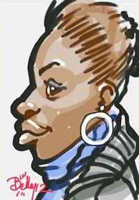caricature tablette numerique fille boucles oreilles