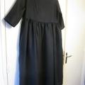 Robe RAYMONDE en lin marine - taille 38 - manches 3 quart - version longue (2)