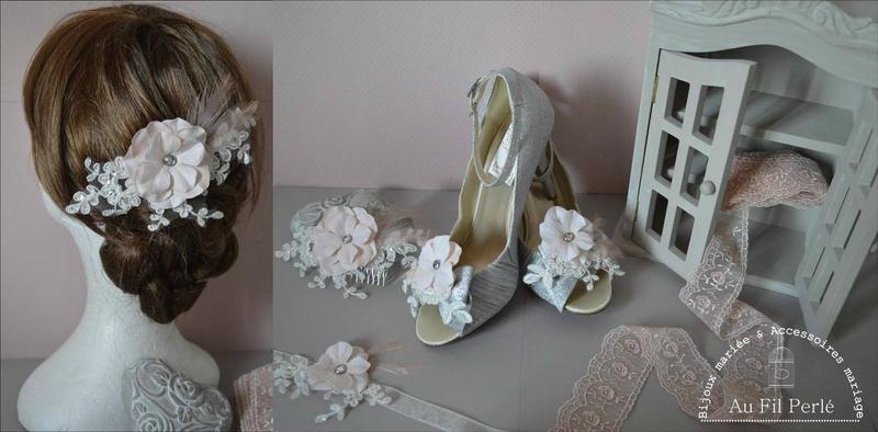 parure mariage mariée collier mitaine bracelet peigne accessoire cheveux plumes dentelle fleur rose poudré ivoire