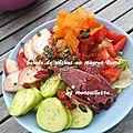 Salade de pêches au magret fumé
