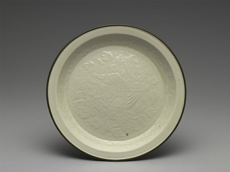 Dish with impressed design of peacocks and peonies, Ding ware, Northern Song to Jin dynasties, 12th -13th centuries
