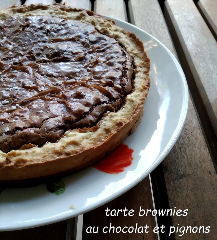 tarte brownies au chocolat et pignon