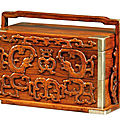 A huanghuali and boxwood two-tiered carry box, late ming-early qing dynasty