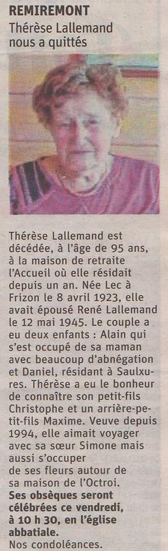 2018 07 05 Décès de Mme Thérèse Lallemand