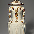 A brown-spotted qingbai jar and cover, Song dynasty (960-1279)