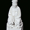 Blanc de chine porcelain dignitary, china, qing dynasty, 19th century