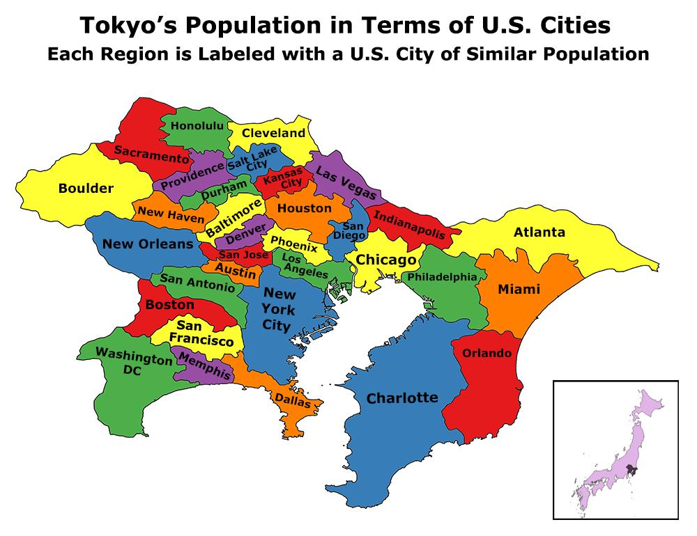 The population of Tokyo, measured in U
