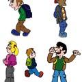 Création de personnages pour une affiche d'école.