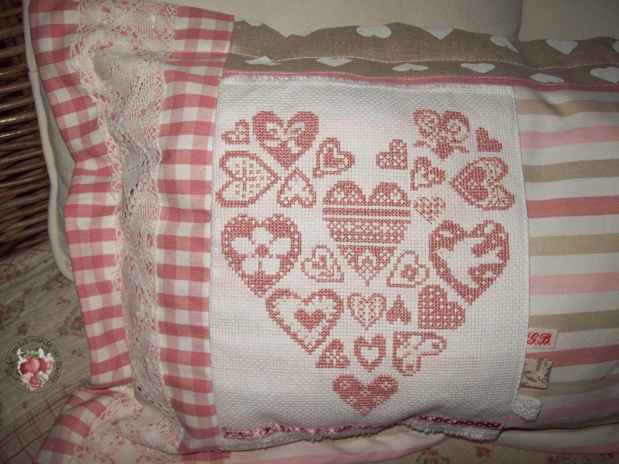 Coussin Coeur de coeurs ...détail