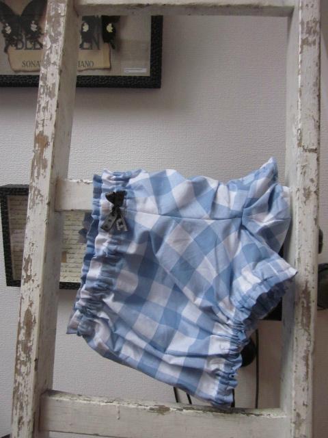 Culotte BIANCA en coton gros vichy ciel et blanc et noeud noir à pois (2)