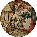 Pieter brueghel the younger (1564 - 1636 antwerp), tondo with depiction of a dutch proverb