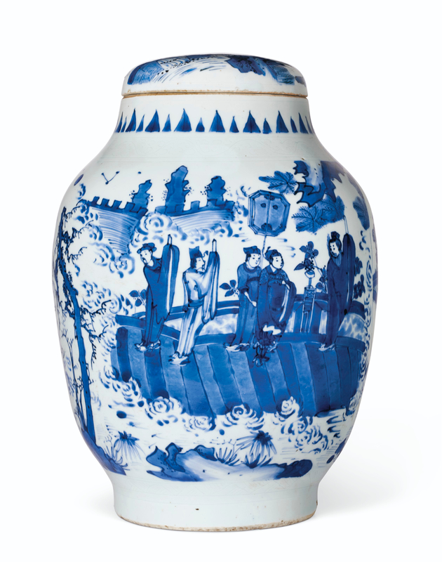 A rare large blue and white ovoid jar and cover, Chongzhen Period (1628-1644)