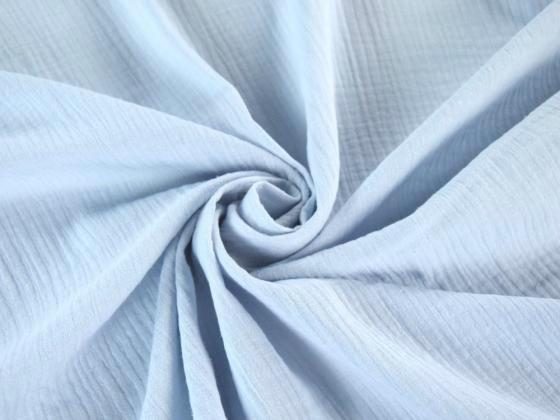 Tissu double gaze de coton uni coloris BLEU BABY au mètre