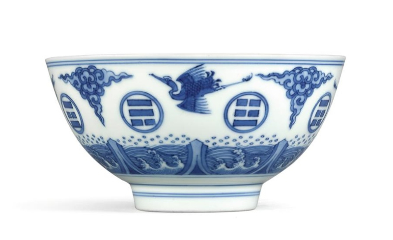 A fine and rare blue and white 'Trigrams' bowl, Mark and period of Yongzheng