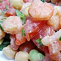 Salade tomates - crevettes - pois chiches