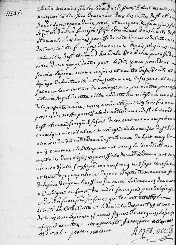 acte de mariage Claude Monnier 9 mai 1774