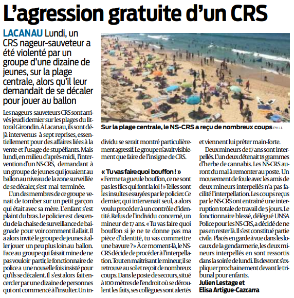 2018 07 11 SO Lacanau Agression gratuite d'un CRS