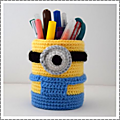 Pot crayon minion au crochet #by thisa
