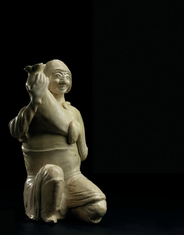 An white-glazed human-shaped vessel, zun, Sui-early Tang dynasty, 6th-7th century
