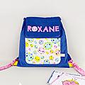 Sac maternelle personnalisé prénom Roxane sac à dos fille bleu rose fleuri cadeau fille personnalisable