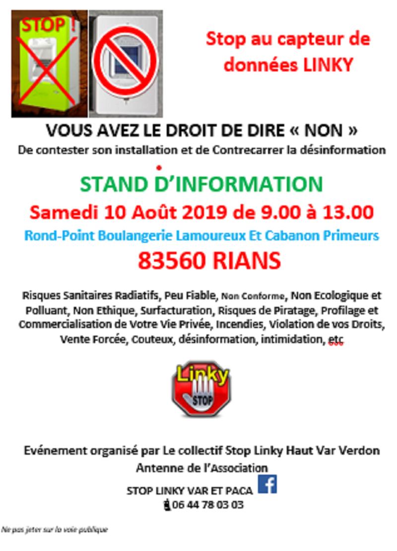 Réunion d'information à Rians (83) samedi 10 août 2019