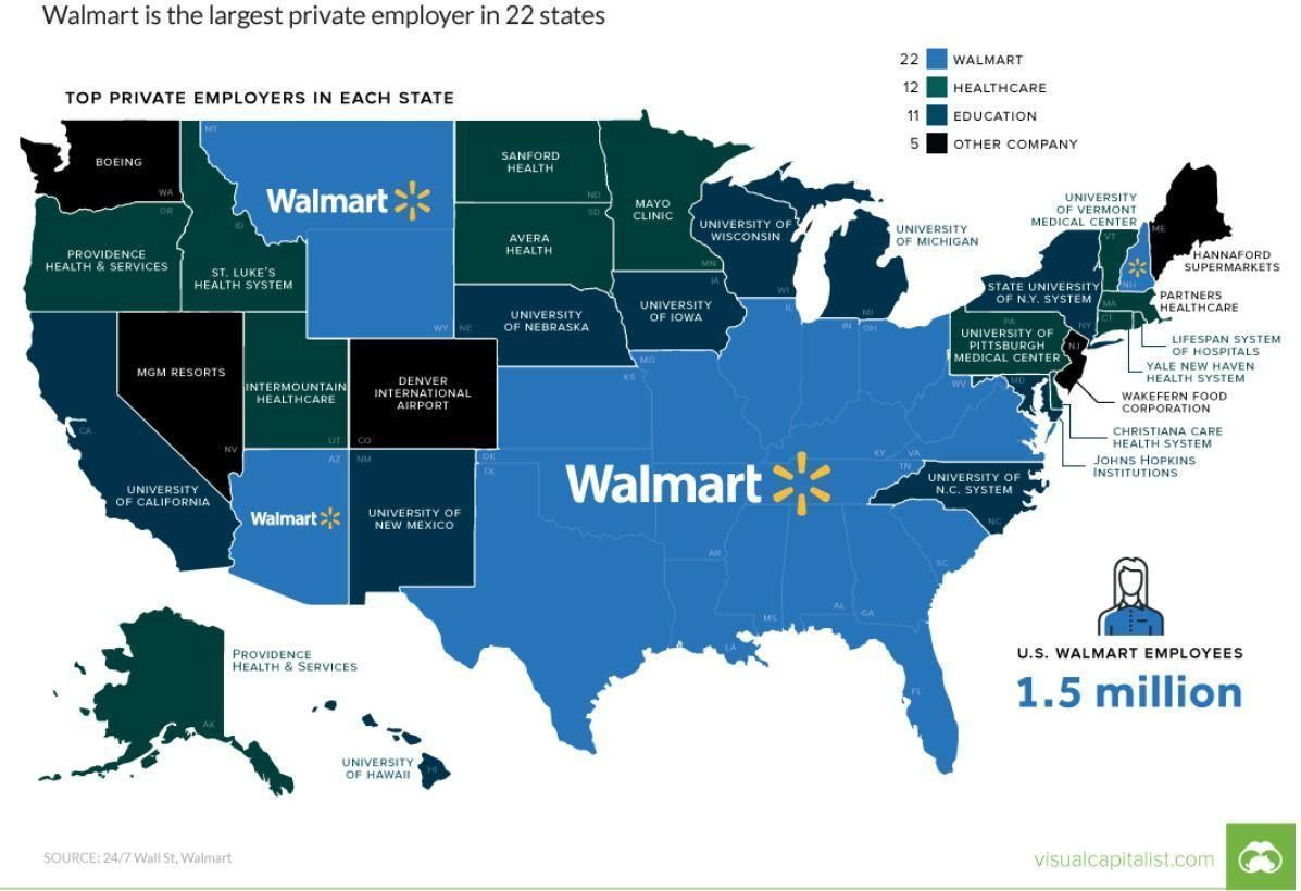 Map of largest employer in each U