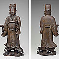 A bronze figure of a daoist immortal, ming dynasty (1368-1644)
