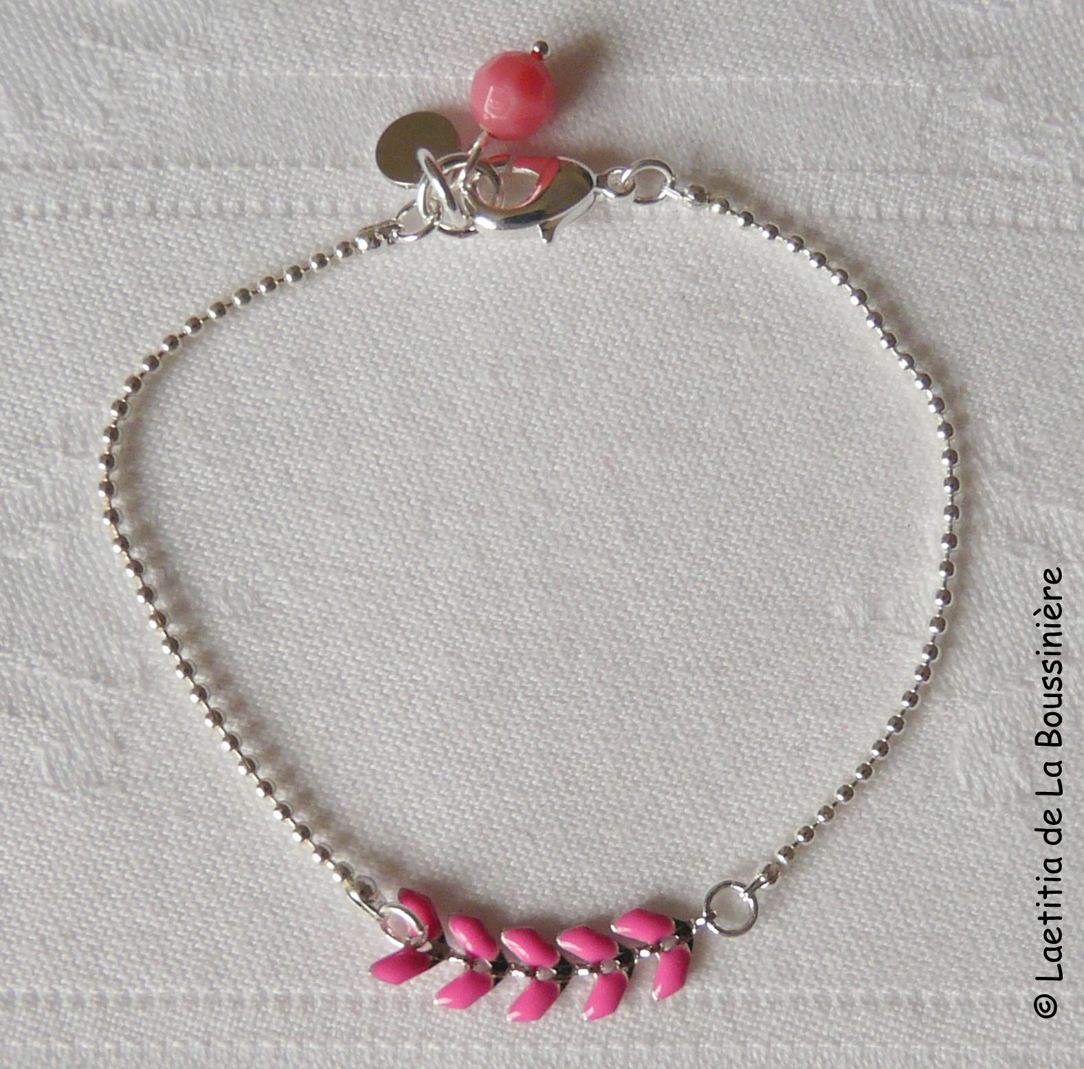 Bracelet César (fushia et argent)-001