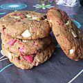 Cookies aux chocolat blanc et aux pralines
