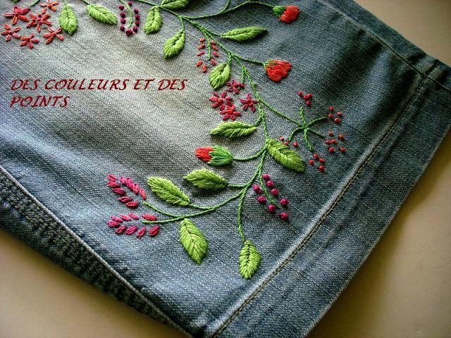 jupe jean's brodée détails bis