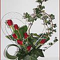 Composition coeur en fleurs