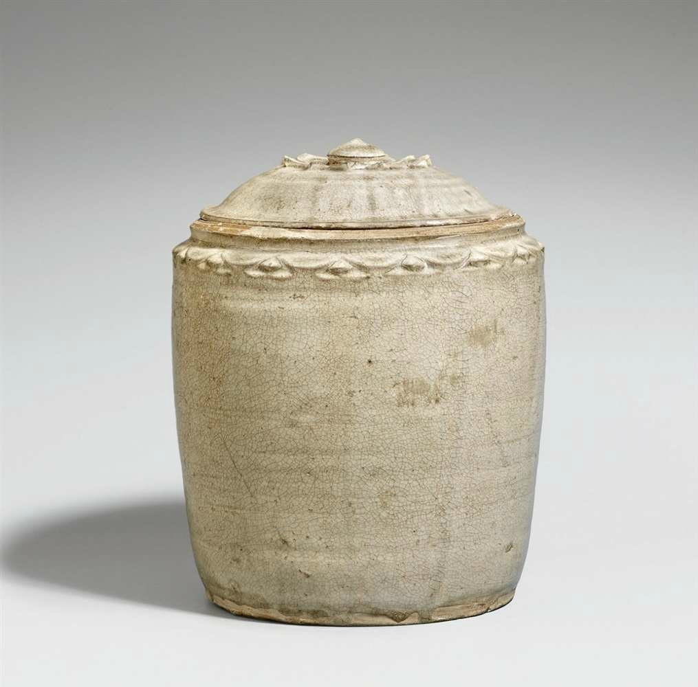 A light-green glazed lidded jar, Vietnam, 10th-12th century