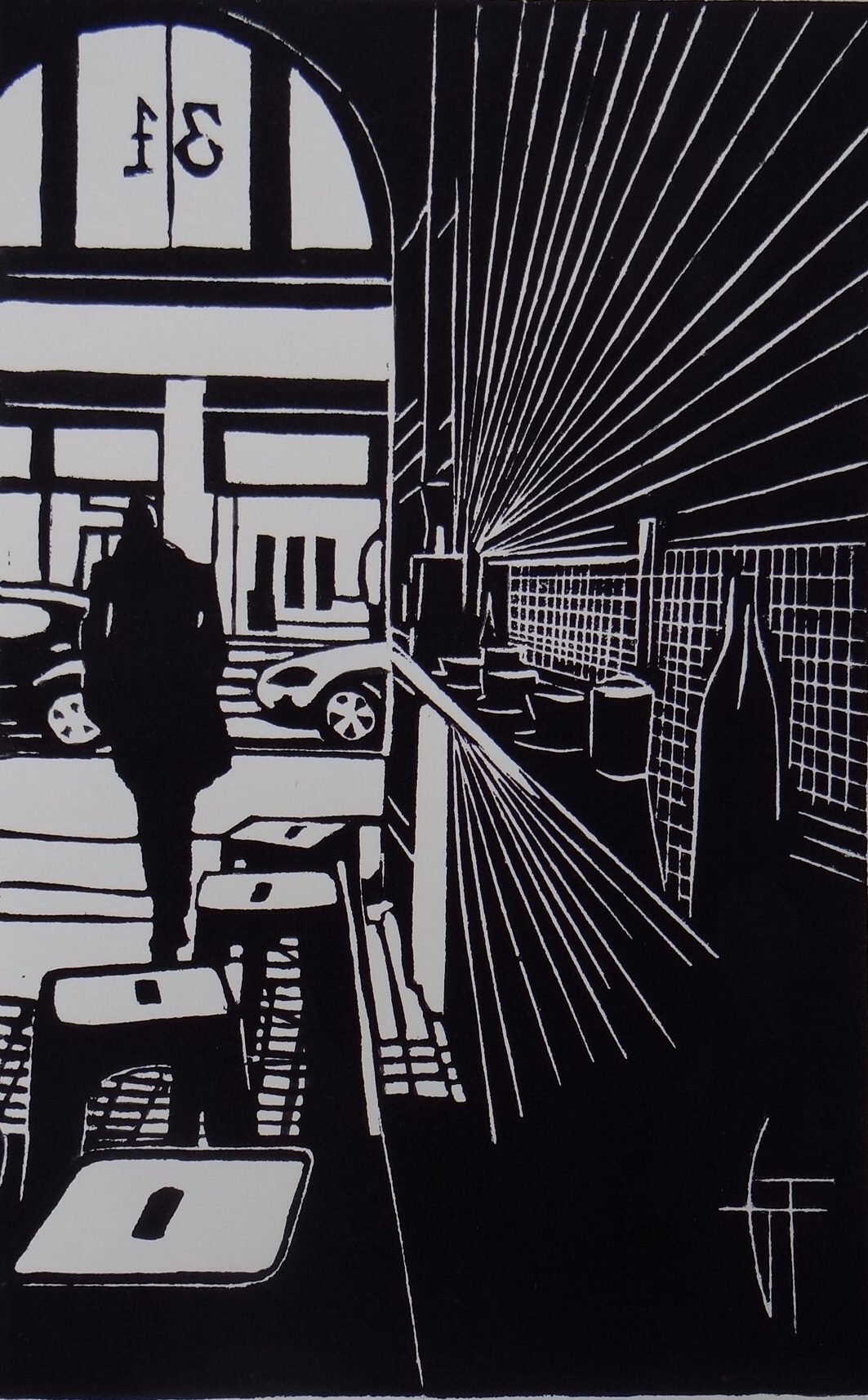 The man - Linogravure