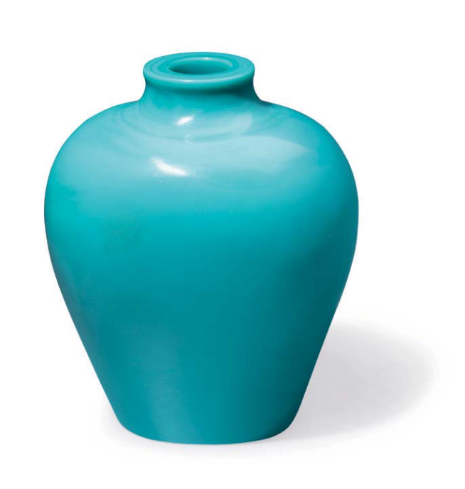 A small pale blue glass vase, China, Qing dynasty, 18th century