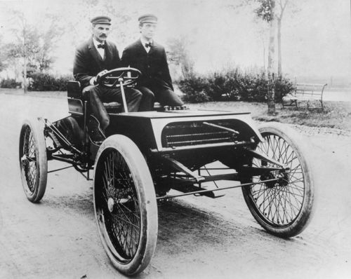 1901 henry ford, oliver barthel aboard 'sweepstakes'