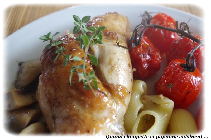 lapin au thym frais et champignons, tomates confites au four-462