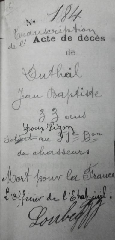 transcription de l'acte de décès de Jean Baptiste Dutheil (1)