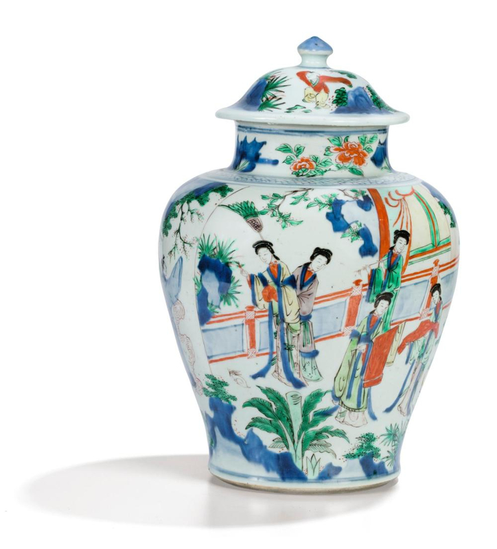 A wucai baluster jar and cover, Transitional period, 17th century