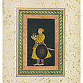 Asaf khan holding humayun's turban, attributable to balchand, mughal india, circa 1630