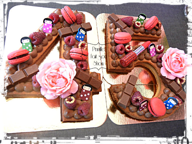 Number cake - 45 - girly and chocolate - Prunille fait son show...