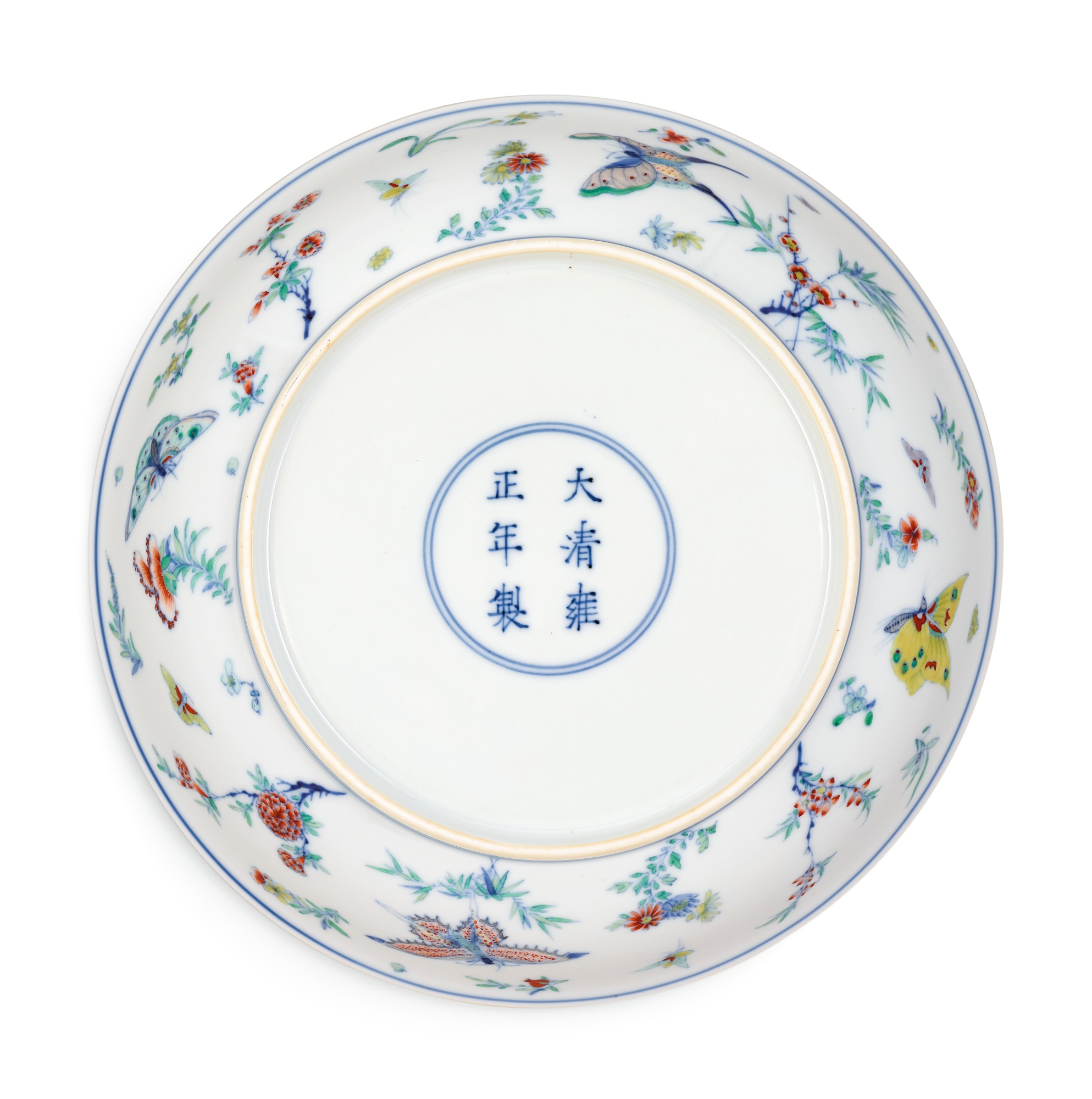 A fine and rare doucai 'butterfly' dish, mark and period of