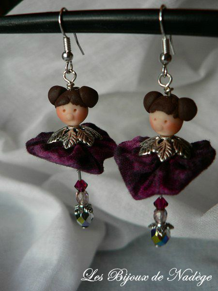 boucles d'oreilles matrioshka, belle demoiselle Laura
