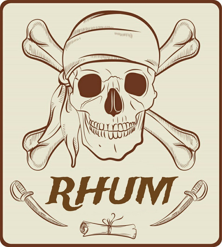 label halloween pirate rhum