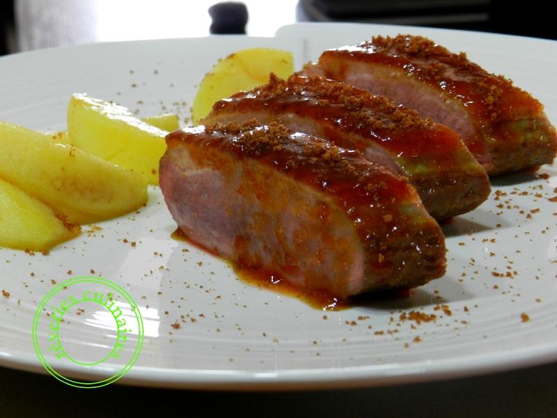 magret de canard, sauce à l'orange et spéculoos