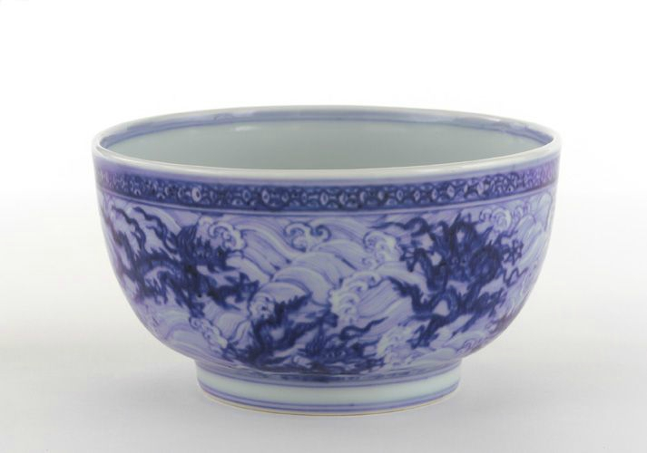 Bowl with plain straight rim, mid to late 15th century, Ming dynasty. Porcelain with cobalt pigment under clear, colorless glaze. H: 7.5 W: 13.2 cm, Jingdezhen, China. Purchase F1953.6. Freer/Sackler © 2014 Smithsonian Institution