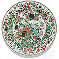 A large lobed famille verte dish, qing dynasty, kangxi period