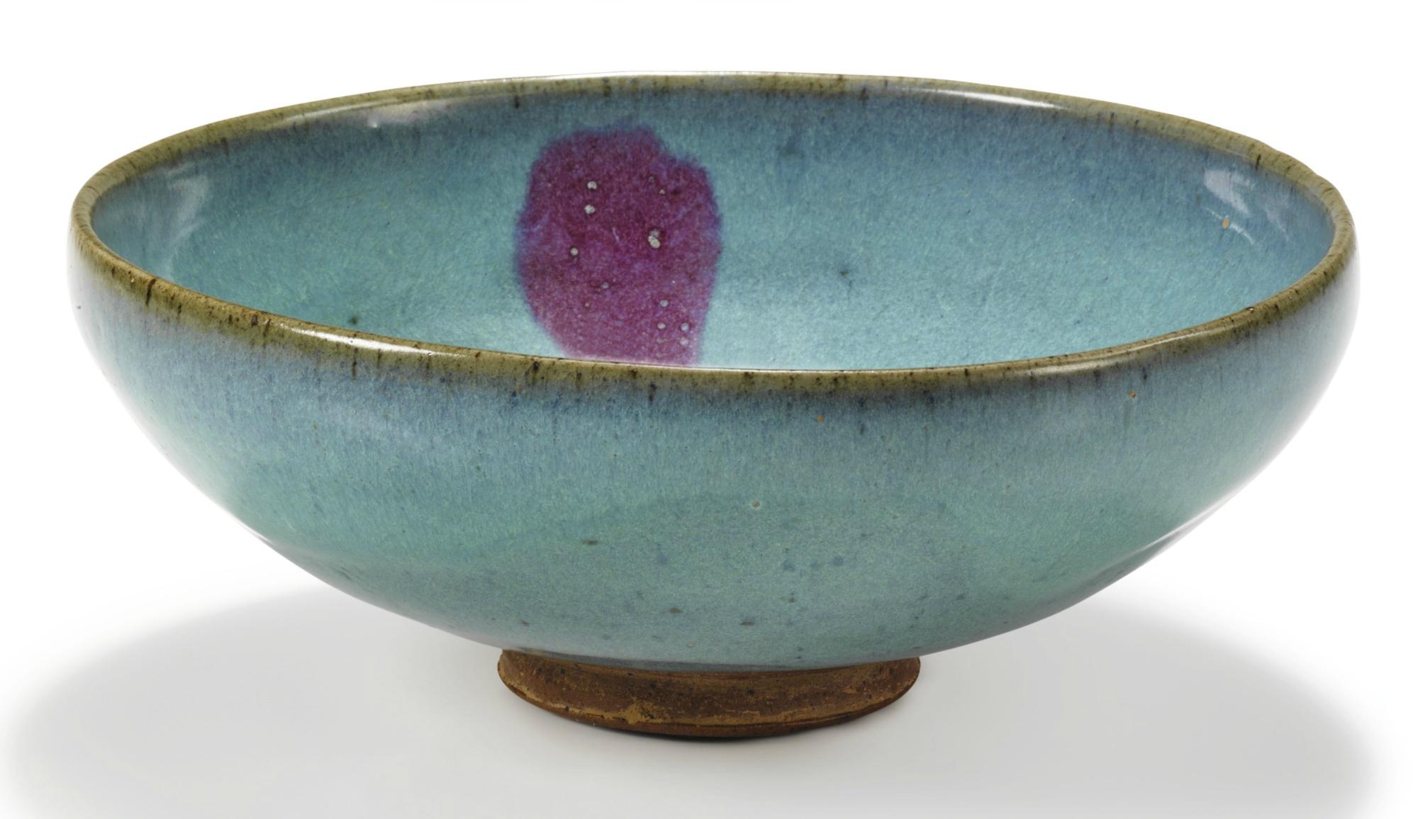 A large 'Jun' purple-splashed bowl, Yuan dynasty